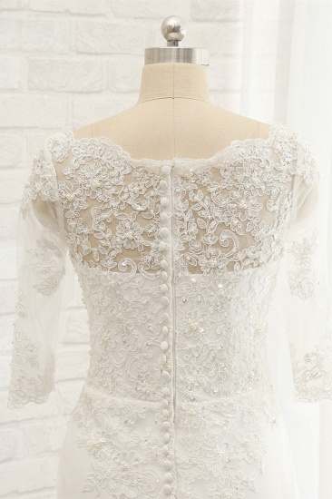 Affordable Jewel White Tulle Lace Wedding Dress Half Sleeves Appliques Bridal Gowns Online_4