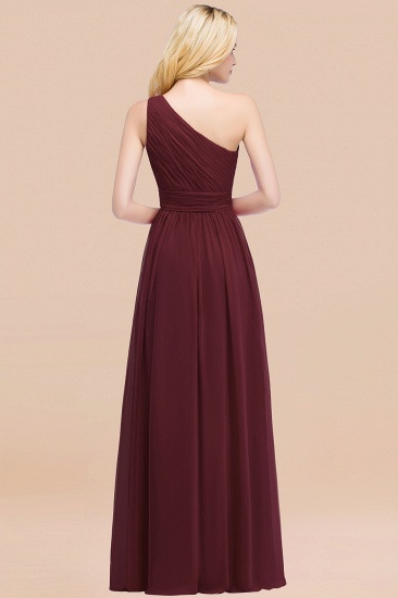 Chic One-shoulder Sleeveless Burgundy Chiffon Bridesmaid Dresses Online_52