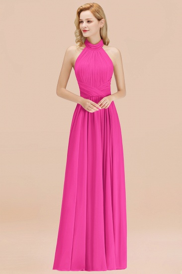 Gorgeous High-Neck Halter Backless Bridesmaid Dress Dusty Rose Chiffon Maid of Honor Dress_9