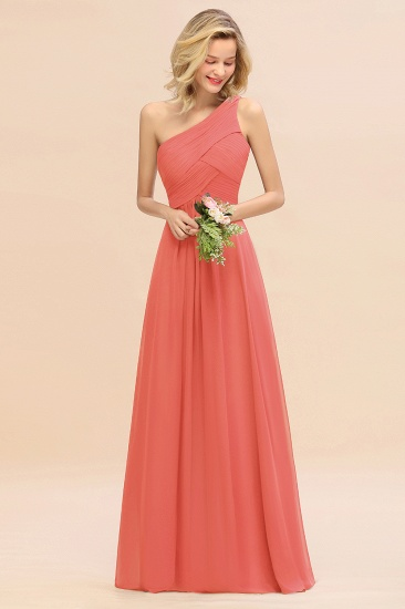 Chic One Shoulder Ruffle Grape Chiffon Bridesmaid Dresses Online_7