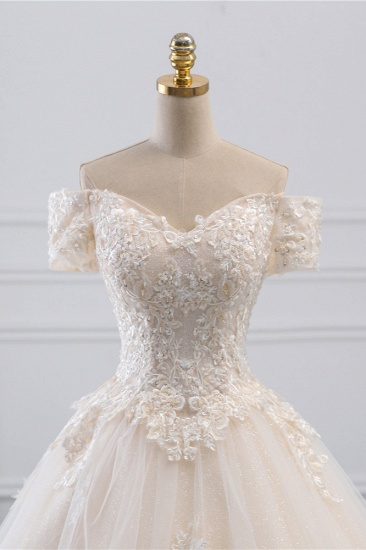 Affordable Off-the-Shoulder White Tulle Lace Wedding Dress Sweetheart Appliques Bridal Gowns On Sale_5