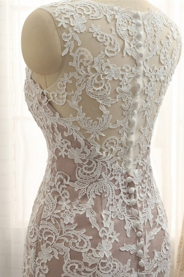 BMbridal Affordable Straps V-Neck Tulle Appliques Wedding Dress Sleeveless Lace Bridal Gowns On Sale_6