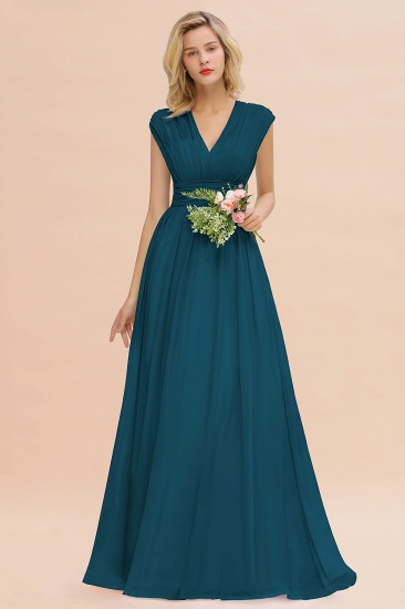Elegant Chiffon V-Neck Ruffle Long Bridesmaid Dresses Affordable_27
