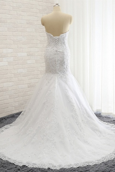 Affordable Strapless Tulle Lace Wedding Dress Sleeveless Sweetheart Bridal Gowns with Appliques On Sale_3