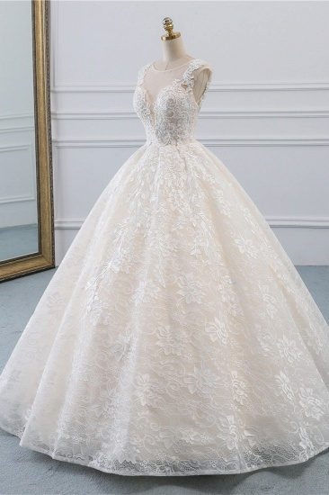 Exquisite Jewel Sleelveless Lace Wedding Dress Ball Gown appliques Bridal Gowns Online_4