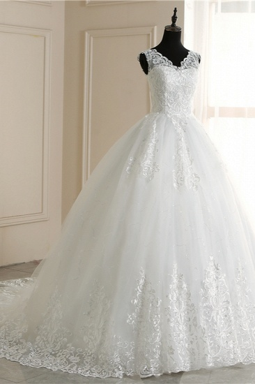 Elegant V-Neck Tull Lace White Wedding Dress Sleeveless Appliques Bridal Gowns On Sale_4