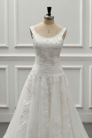 BMbridal Chic Straps Jewel Tulle Lace Wedding Dress Sleeveless Appliques White Bridal Gowns On Sale_6
