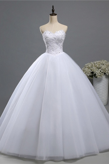 BMbridal Chic Strapless Sweetheart Tulle Lace Wedding Dresses Sleeveless Appliques Bridal Gowns with Beadings_1