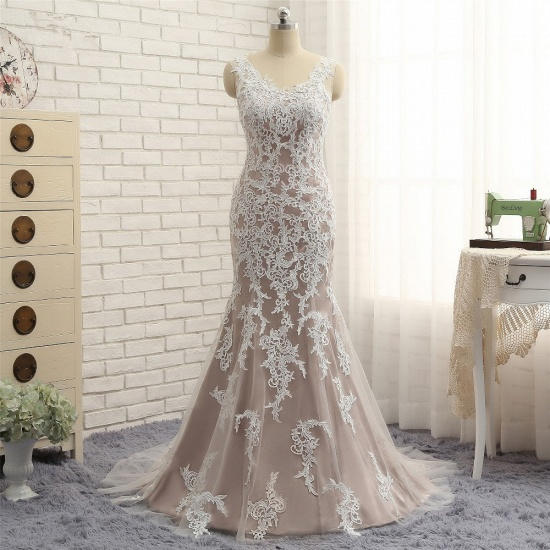 BMbridal Affordable Straps V-Neck Tulle Appliques Wedding Dress Sleeveless Lace Bridal Gowns On Sale_7