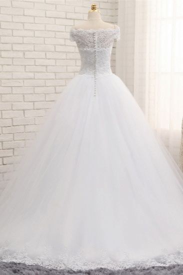 Modest Bateau Tulle Ruffles Wedding Dresses With Appliques A-line White Lace Bridal Gowns On Sale_3