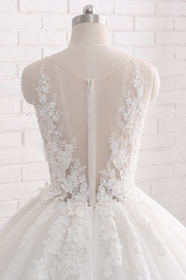 Elegant Straps Sleeveless White Wedding Dresses With Appliques A line Tulle Bridal Gowns On Sale_6