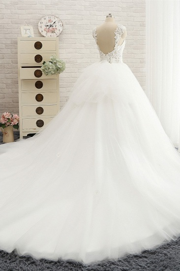 Chic Straps Sleeveless Tulle Wedding Dresses With Appliques White A-line Bridal Gowns Online_3
