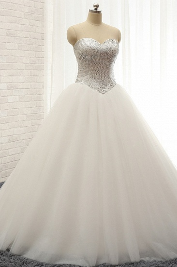 BMbridal Stylish Sweatheart White Sequins Wedding Dresses A line Tulle Bridal Gowns On Sale_4