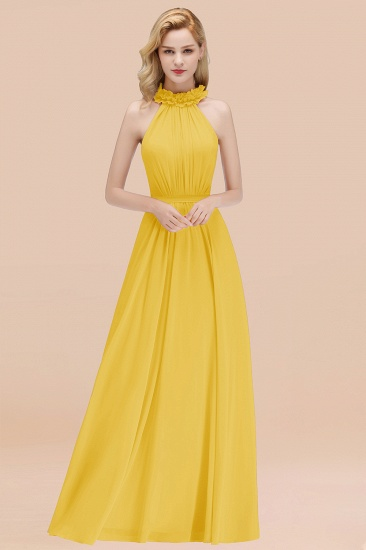 Modest High-Neck Halter Ruffle Chiffon Bridesmaid Dresses Affordable_17