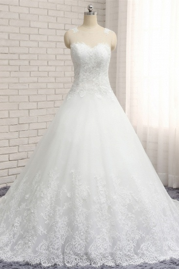Chic White A-line Tulle Wedding Dresses Jewel Sleeveless Ruffle Bridal Gowns With Appliques On Sale_1