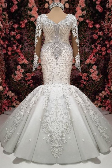 Sexy V-neck Longsleeves Lace Wedding Dresses With Appliques White Mermaid Bridal Gowns Online_2
