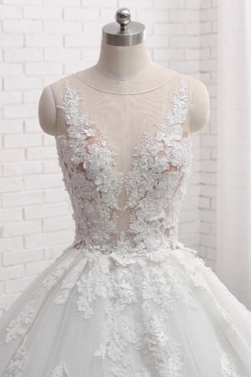 Elegant Straps Sleeveless White Wedding Dresses With Appliques A line Tulle Bridal Gowns On Sale_5