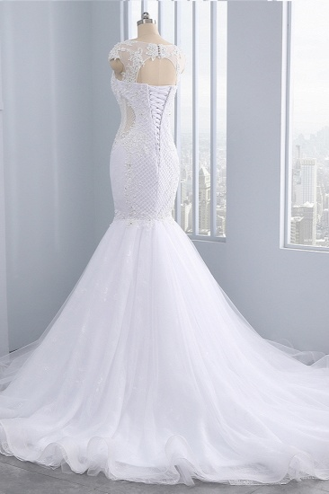 BMbridal Stunning Jewel Tulle Lace Mermaid Wedding Dress Sleeveless Appliques Bridal Gowns On Sale_4