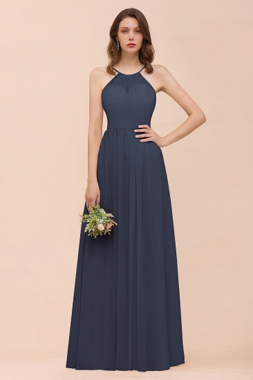 BMbridal Gorgeous Chiffon Halter Ruffle Affordable Long Bridesmaid Dress_39