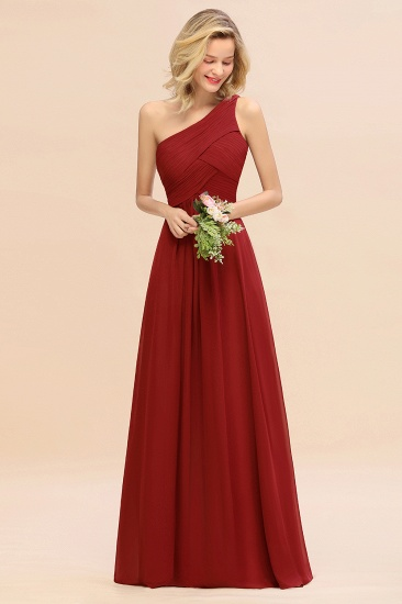 Chic One Shoulder Ruffle Grape Chiffon Bridesmaid Dresses Online_48