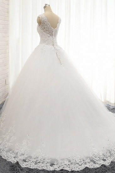 Chic Straps V-Neck Tulle Lace Wedding Dress Sleeveless Appliques Beadings Bridal Gowns On Sale_3