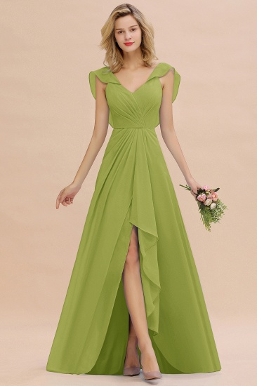 BMbridal Modest Hi-Lo V-Neck Ruffle Long Bridesmaid Dress with Slit_34