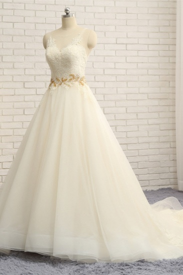 Gorgeous Jewel Sleeveless A-Line Tulle Wedding Dress Lace Appliques Bridal Gowns with Beadings_4