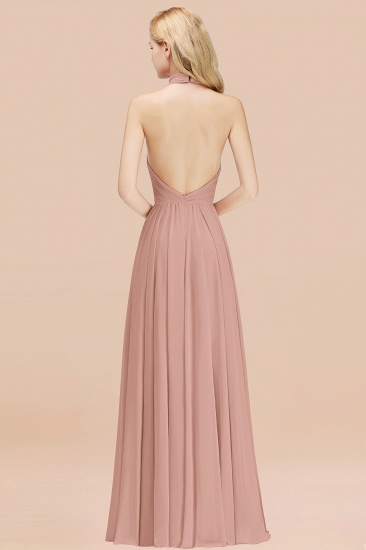 Gorgeous High-Neck Halter Backless Bridesmaid Dress Dusty Rose Chiffon Maid of Honor Dress_52