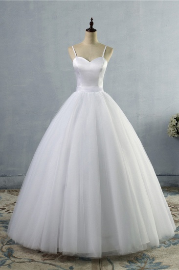 BMbridal Glamorous Spaghetti Straps Sweetheart Wedding Dresses White Sleeveless Bridal Gowns Online_1