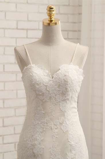 Sexy Spaghetti Straps Mermaid Wedding Dresses Sleeveless Lace Bridal Gowns With Appliques Online_5