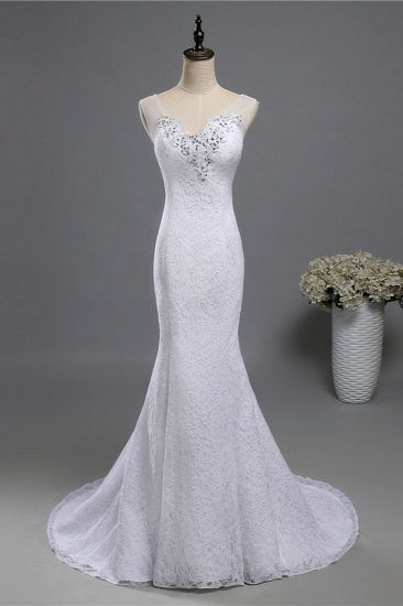 BMbridal Stylish V-Neck White Lace Mermaid Wedding Dress Appliques Sleeveless Sequins Bridal Gowns_1
