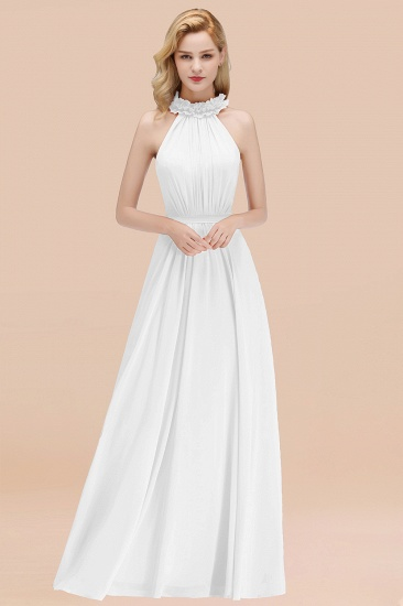 BMbridal Modest High-Neck Halter Ruffle Chiffon Bridesmaid Dresses Affordable_1