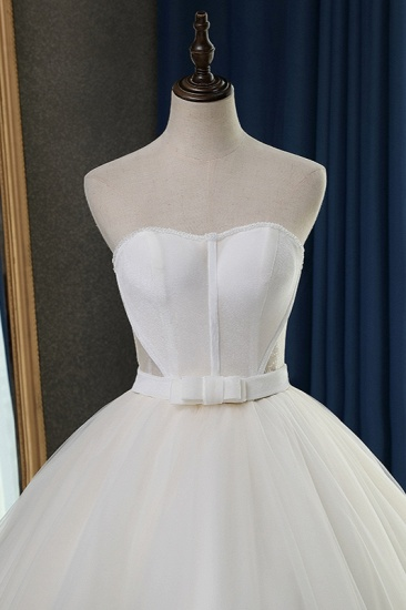 Sexy Strapless Sweetheart Wedding Dress Ball Gown Sleeveless White Tulle Bridal Gowns On Sale_6