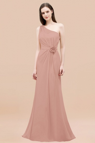 BMbridal Affordable Mermaid One shoulder Pink Bridesmaid Dresses with Flowers_6