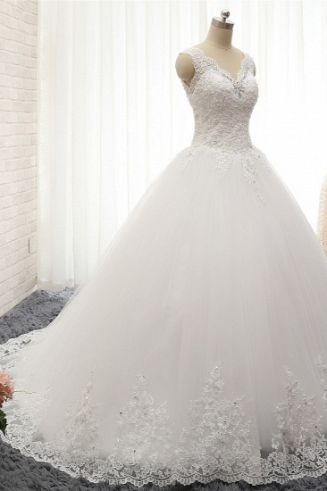 Chic Straps V-Neck Tulle Lace Wedding Dress Sleeveless Appliques Beadings Bridal Gowns On Sale_4