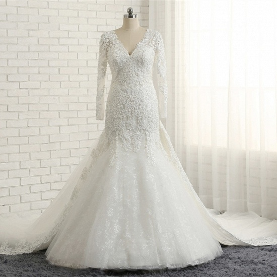 Unique Mermaid Longsleeves V-neck Wedding Dresses White Lace Bridal Gowns With Appliques On Sale_6