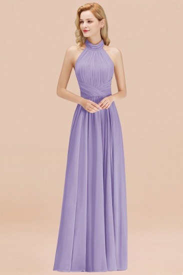 Gorgeous High-Neck Halter Backless Bridesmaid Dress Dusty Rose Chiffon Maid of Honor Dress_21