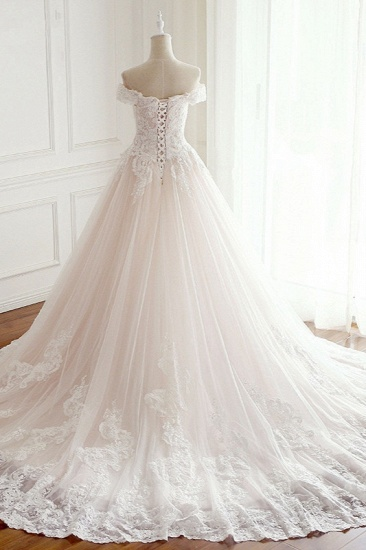 BMbridal Elegant Off-the-Shoulder Tulle Lace Wedding Dress Sweetheart Appliques Sleeveless Bridal Gowns On Sale_3