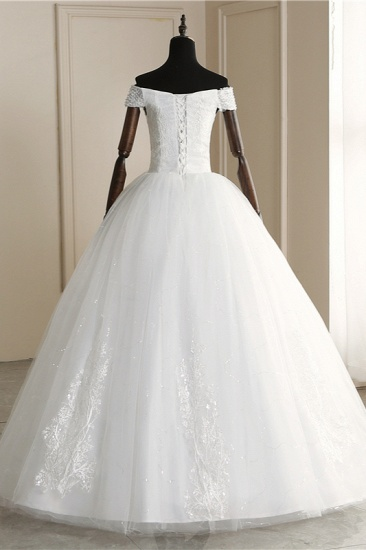 Affordable Off-the Shoulder Sweetheart Tulle Wedding Dress Appliques Sleeveless Bridal Gowns with Pearls_3