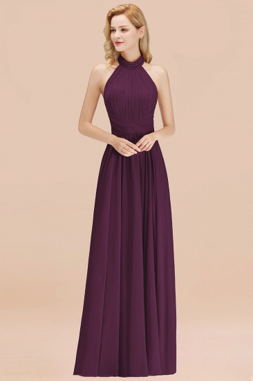 Gorgeous High-Neck Halter Backless Bridesmaid Dress Dusty Rose Chiffon Maid of Honor Dress_20