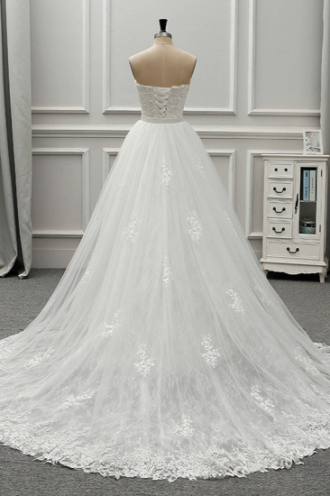 BMbridal Stylish Strapless Sweetheart Tulle White Wedding Dress Appliqes Sleeveless A-Line Bridal Gowns On Sale_3