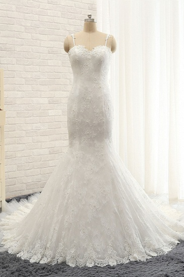 BMbridal Sexy Spaghetti Straps Sleeveless Wedding Dresses With Appliques White Mermaid Lace Bridal Gowns Online_4