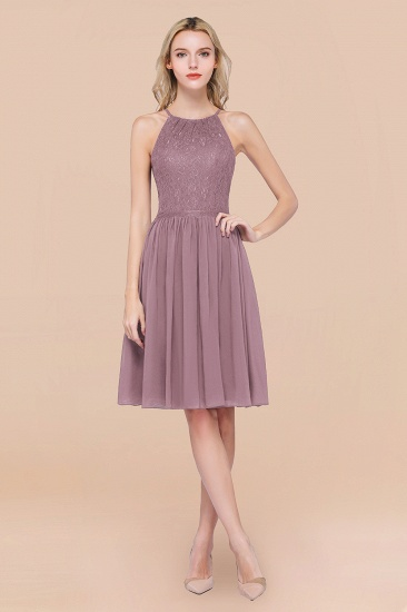 Lovely Burgundy Lace Short Bridesmaid Dress With Spaghetti-Straps_43