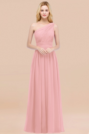 Chic One-shoulder Sleeveless Burgundy Chiffon Bridesmaid Dresses Online_4