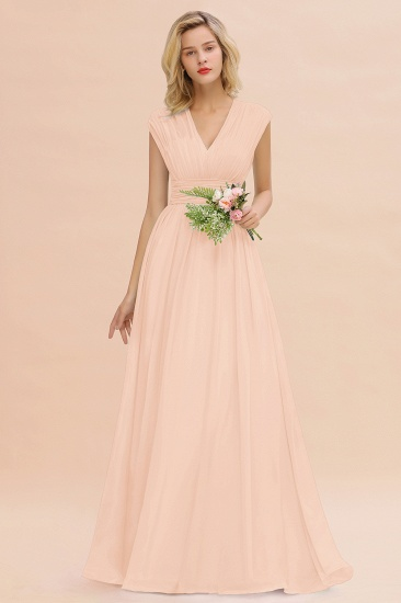Elegant Chiffon V-Neck Ruffle Long Bridesmaid Dresses Affordable_5