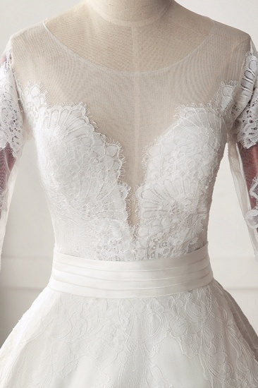 Stunning Jewel Satin Tulle White Wedding Dress Half Sleeves Appliques Bridal Gowns Online_6