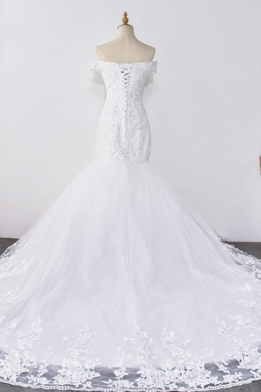 Gorgeous Off-the-Shoulder Mermaid White Wedding Dress Sweetheart Sleeveless Appliques Bridal Gowns with Rhinestones On Sale_3