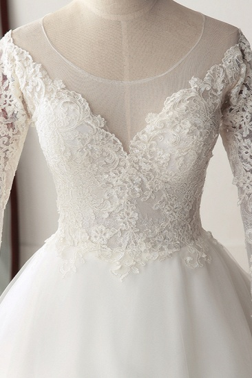 BMbridal Elegant Jewel Tulle Lace White Wedding Dress A-Line Long Sleeves Appliques Bridal Gowns On Sale_5