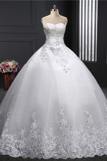 BMbridal Affordable Strapless Sweetheart Ball Gown Wedding Dress Appliques Sleeveless Bridal Gowns with Beadings_2