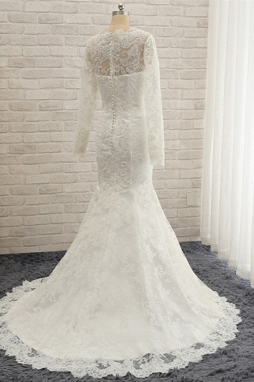 BMbridal Chic White Satin Mermaid Wedding Dresses Jewel Longsleeves With Appliques On Sale_5